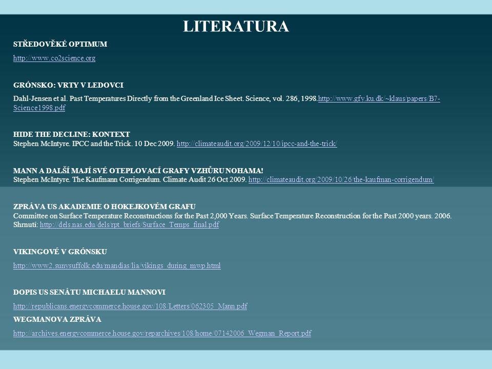 LITERATURA STŘEDOVĚKÉ OPTIMUM http://www.co2science.org GRÓNSKO: VRTY V LEDOVCI Dahl-Jensen et al.