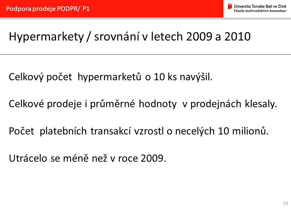 19 Hypermarkety / srovnání v letech 2009 a 2010 Podpora prodeje PODPR/ P1 Celkový počet hypermarketů o 10 ks navýšil. Celkové prodeje i průměrné hodno