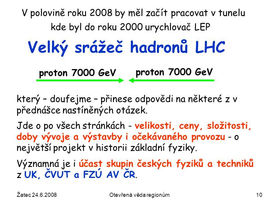 Žatec 24.6.2008Otevřená věda regionům10 V polovině roku 2008 by měl začít pracovat v tunelu kde byl do roku 2000 urychlovač LEP Velký srážeč hadronů L