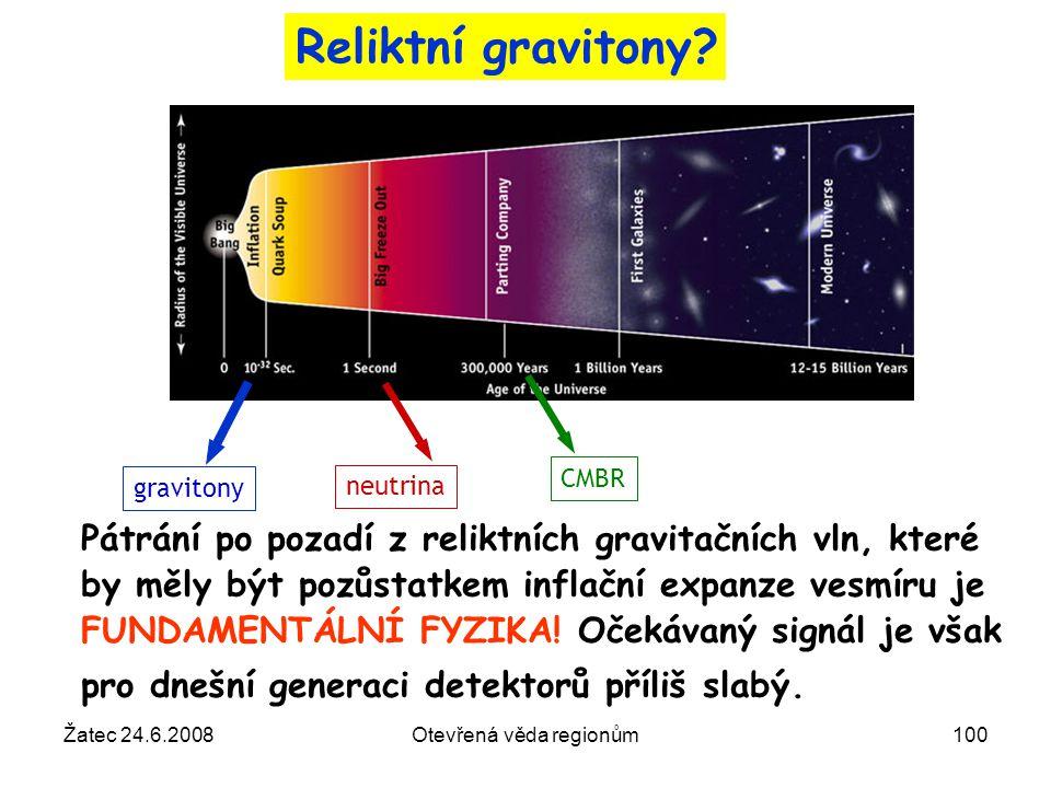 Žatec 24.6.2008Otevřená věda regionům100 Pátrání po pozadí z reliktních gravitačních vln, které by měly být pozůstatkem inflační expanze vesmíru je FU