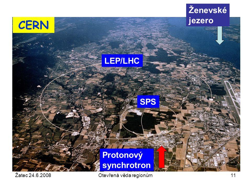 Žatec 24.6.2008Otevřená věda regionům11 CERN Protonový synchrotron SPS LEP/LHC Ženevské jezero