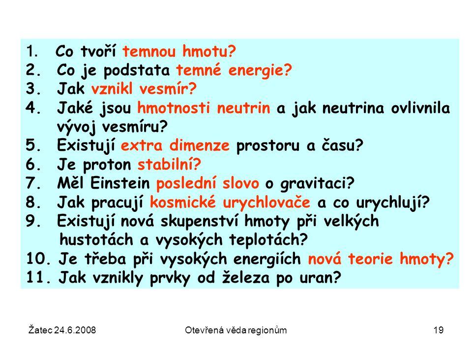 Žatec 24.6.2008Otevřená věda regionům19 1. Co tvoří temnou hmotu? 2. Co je podstata temné energie? 3. Jak vznikl vesmír? 4. Jaké jsou hmotnosti neutri