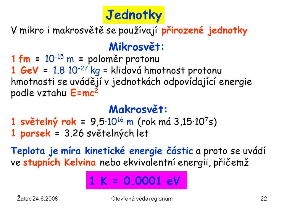 Žatec 24.6.2008Otevřená věda regionům22 Mikrosvět: 1 fm = 10 -15 m = poloměr protonu 1 GeV = 1.8 10 -27 kg = klidová hmotnost protonu hmotnosti se uvá