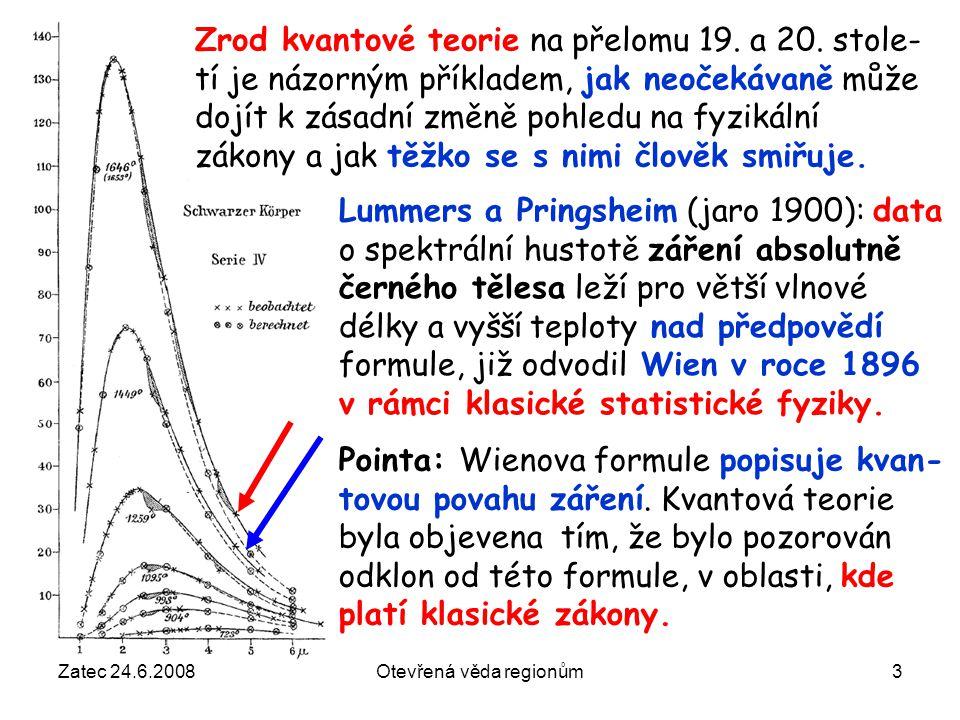 Žatec 24.6.2008Otevřená věda regionům3 Pointa: Wienova formule popisuje kvan- tovou povahu záření. Kvantová teorie byla objevena tím, že bylo pozorová