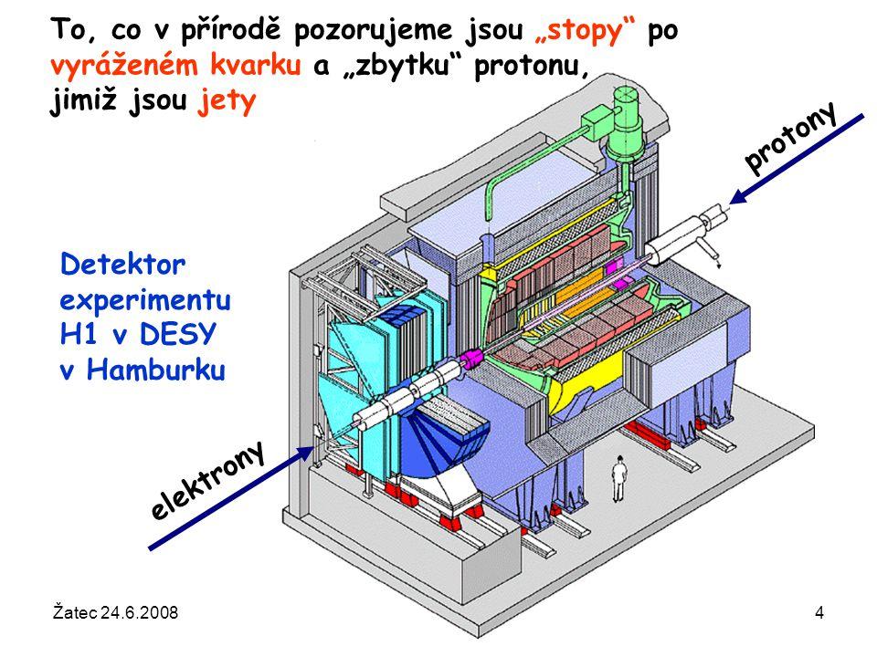 """Žatec 24.6.2008Otevřená věda regionům34 protony elektrony Detektor experimentu H1 v DESY v Hamburku To, co v přírodě pozorujeme jsou """"stopy"""" po vyráže"""