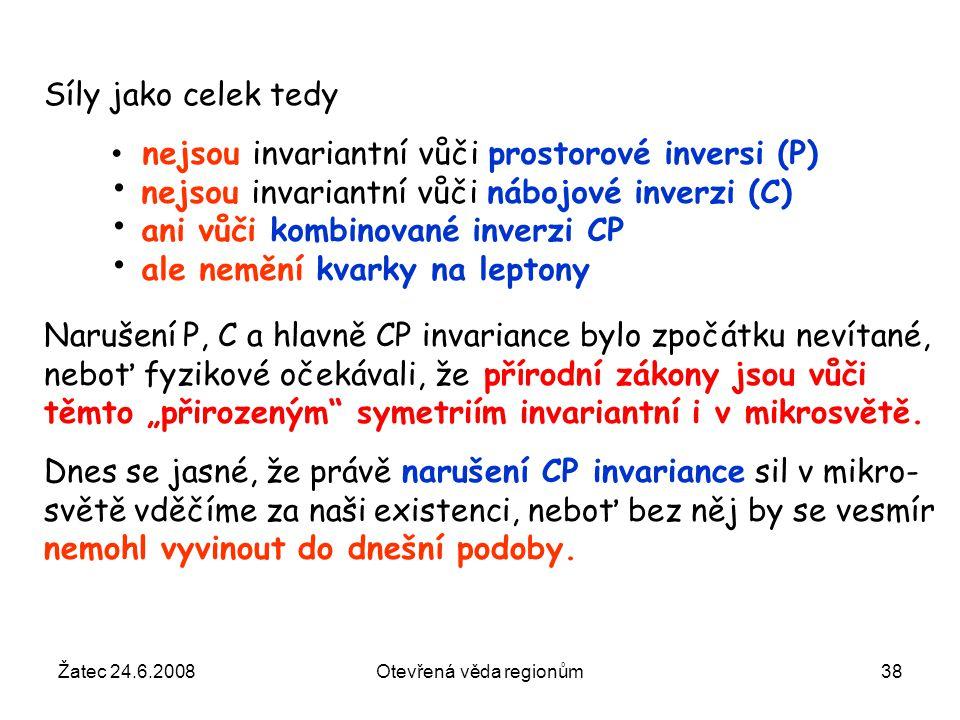 Žatec 24.6.2008Otevřená věda regionům38 nejsou invariantní vůči prostorové inversi (P) nejsou invariantní vůči nábojové inverzi (C) ani vůči kombinova