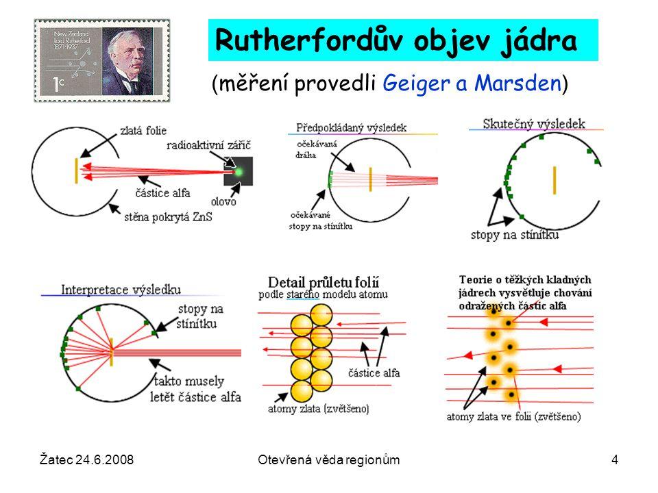 """Žatec 24.6.2008Otevřená věda regionům35 jet – stopa po vyráženém kvarku elektronproton rozptýlený elektron Tok energie ve dvou úzkých kuželech To, co v přírodě pozorujeme jsou """"stopy po vyráženém kvarku a """"zbytku protonu, jimiž jsou jety"""