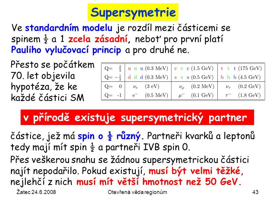 Žatec 24.6.2008Otevřená věda regionům43 Supersymetrie Ve standardním modelu je rozdíl mezi částicemi se spinem ½ a 1 zcela zásadní, neboť pro první pl