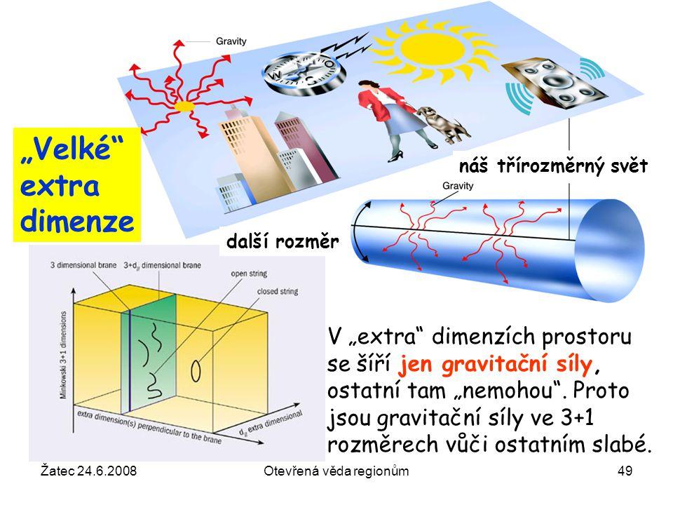 """Žatec 24.6.2008Otevřená věda regionům49 V """"extra"""" dimenzích prostoru se šíří jen gravitační síly, ostatní tam """"nemohou"""". Proto jsou gravitační síly ve"""