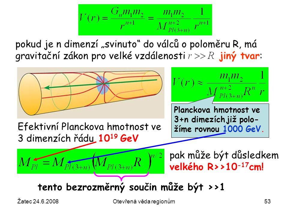 """Žatec 24.6.2008Otevřená věda regionům53 pokud je n dimenzí """"svinuto"""" do válců o poloměru R, má gravitační zákon pro velké vzdálenosti jiný tvar: Planc"""