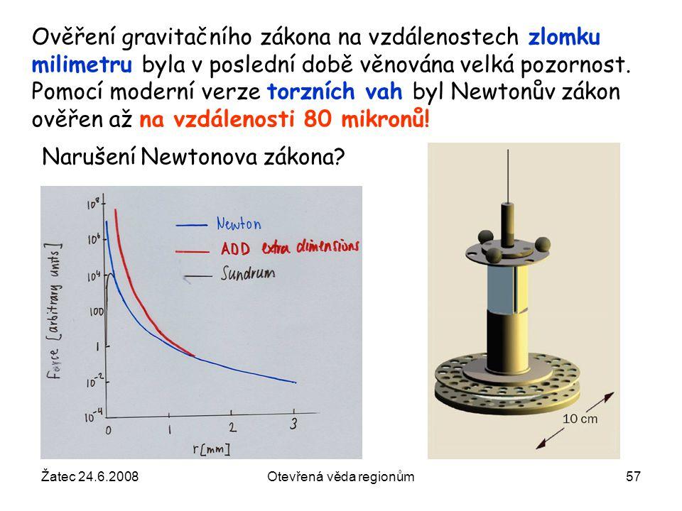 Žatec 24.6.2008Otevřená věda regionům57 Ověření gravitačního zákona na vzdálenostech zlomku milimetru byla v poslední době věnována velká pozornost. P