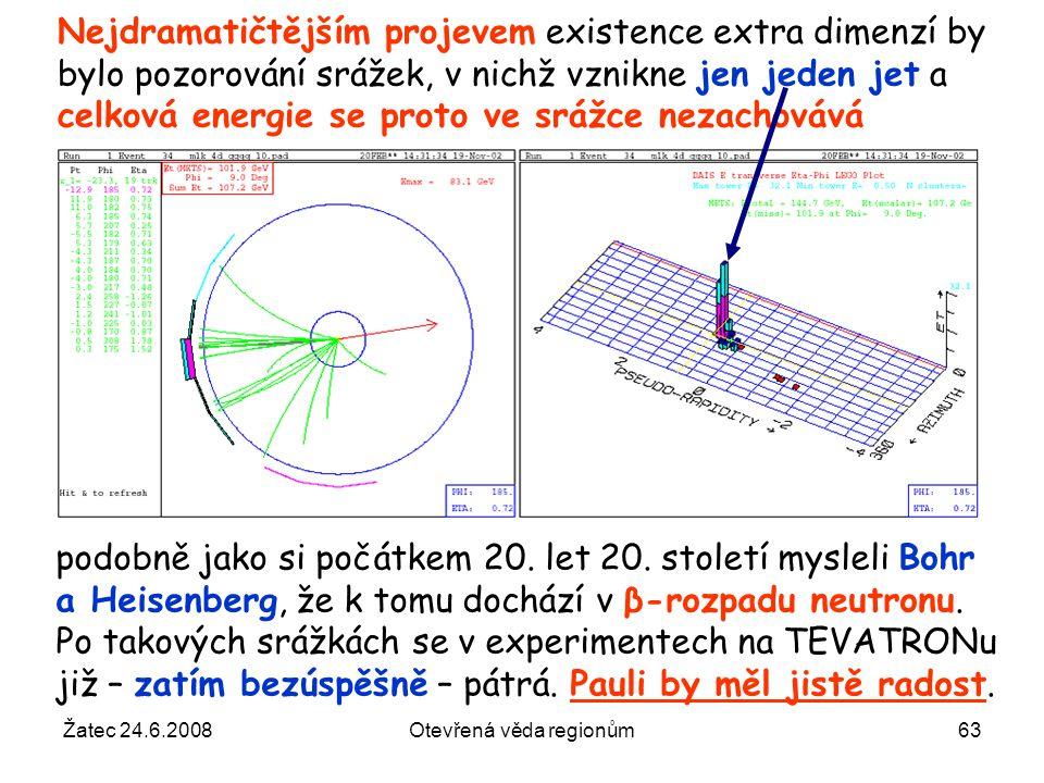 Žatec 24.6.2008Otevřená věda regionům63 Nejdramatičtějším projevem existence extra dimenzí by bylo pozorování srážek, v nichž vznikne jen jeden jet a