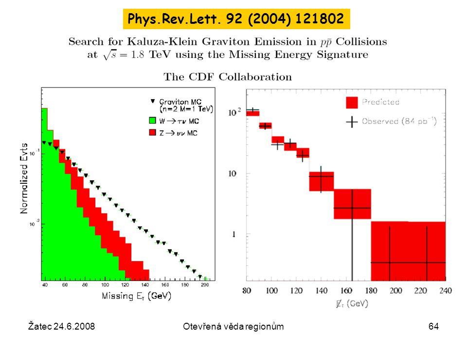 Žatec 24.6.2008Otevřená věda regionům64 Phys.Rev.Lett. 92 (2004) 121802