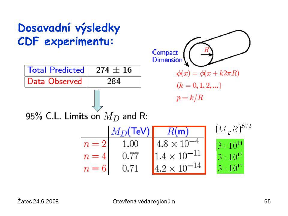 Žatec 24.6.2008Otevřená věda regionům65 Dosavadní výsledky CDF experimentu: