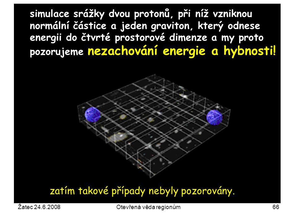Žatec 24.6.2008Otevřená věda regionům66 simulace srážky dvou protonů, při níž vzniknou normální částice a jeden graviton, který odnese energii do čtvr