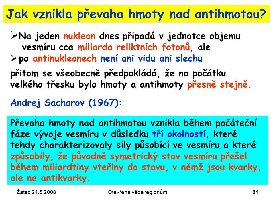Žatec 24.6.2008Otevřená věda regionům84 Jak vznikla převaha hmoty nad antihmotou?  Na jeden nukleon dnes připadá v jednotce objemu vesmíru cca miliar