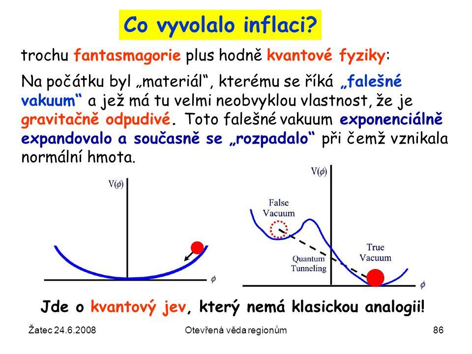 """Žatec 24.6.2008Otevřená věda regionům86 Co vyvolalo inflaci? Na počátku byl """"materiál"""", kterému se říká """"falešné vakuum"""" a jež má tu velmi neobvyklou"""