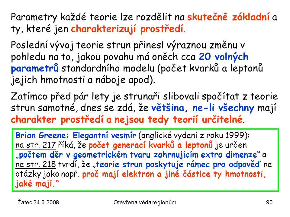 Žatec 24.6.2008Otevřená věda regionům90 Parametry každé teorie lze rozdělit na skutečně základní a ty, které jen charakterizují prostředí. Poslední vý
