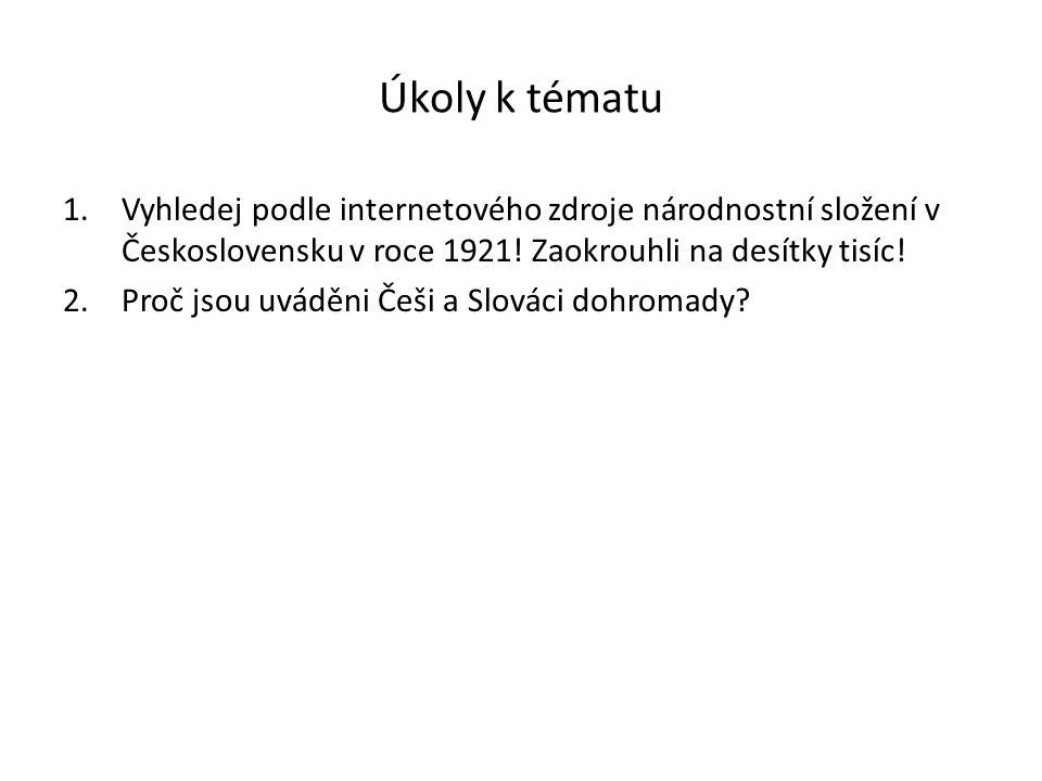 Úkoly k tématu 1.Vyhledej podle internetového zdroje národnostní složení v Československu v roce 1921.