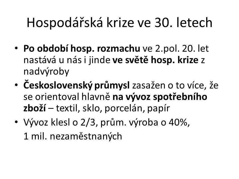 Hospodářská krize ve 30.letech Po období hosp. rozmachu ve 2.pol.