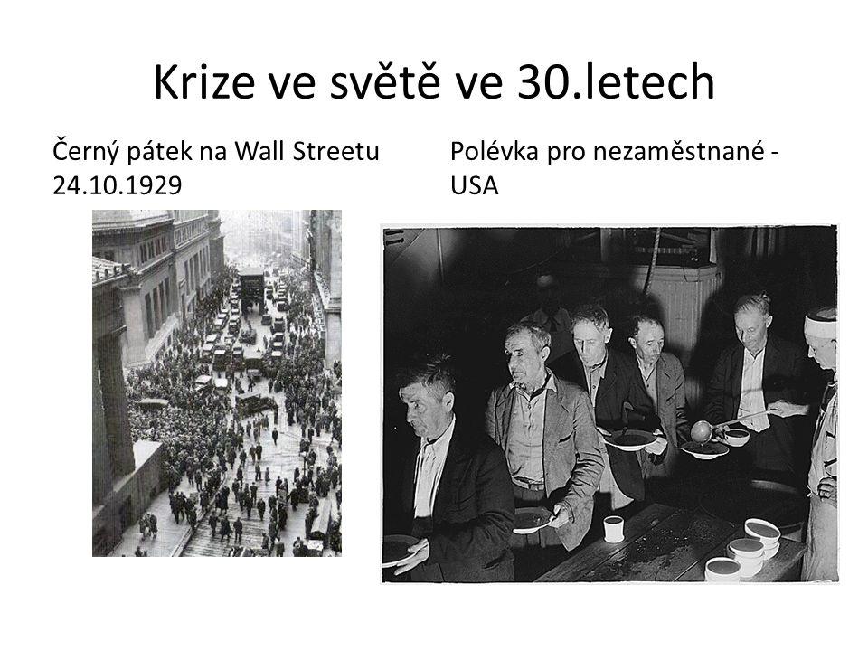 Krize ve světě ve 30.letech Černý pátek na Wall Streetu 24.10.1929 Polévka pro nezaměstnané - USA