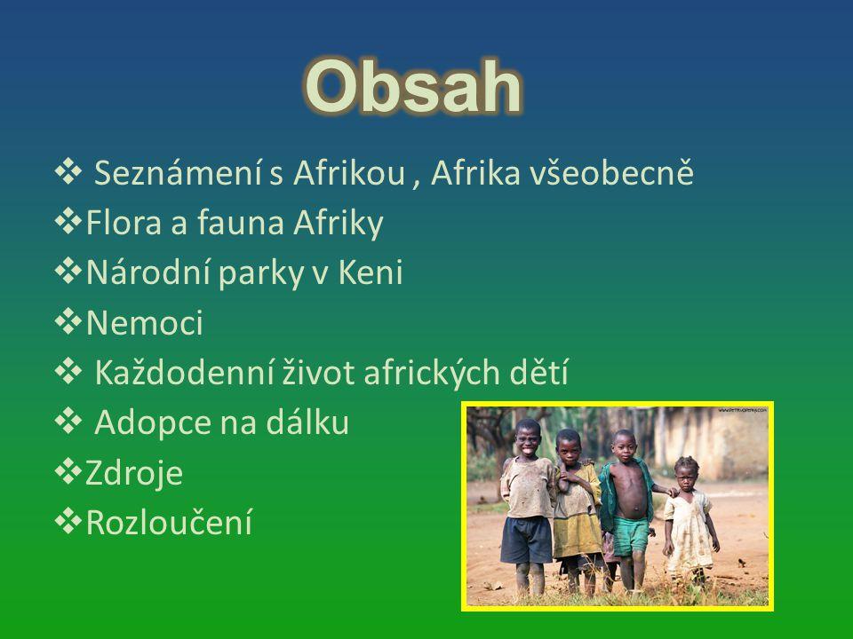  Seznámení s Afrikou, Afrika všeobecně  Flora a fauna Afriky  Národní parky v Keni  Nemoci  Každodenní život afrických dětí  Adopce na dálku  Z