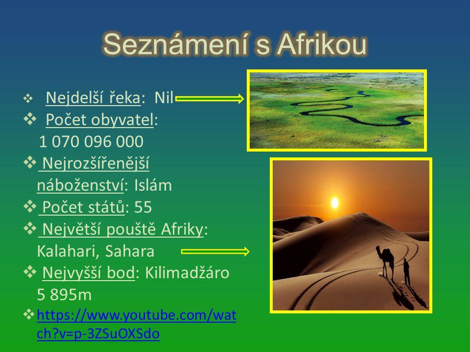  Nejdelší řeka: Nil  Počet obyvatel: 1 070 096 000  Nejrozšířenější náboženství: Islám  Počet států: 55  Největší pouště Afriky: Kalahari, Sahara