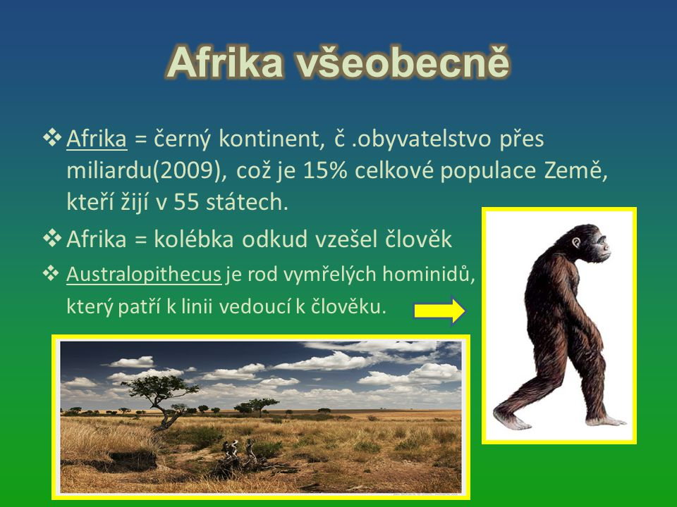  Afrika = černý kontinent, č.obyvatelstvo přes miliardu(2009), což je 15% celkové populace Země, kteří žijí v 55 státech.  Afrika = kolébka odkud vz