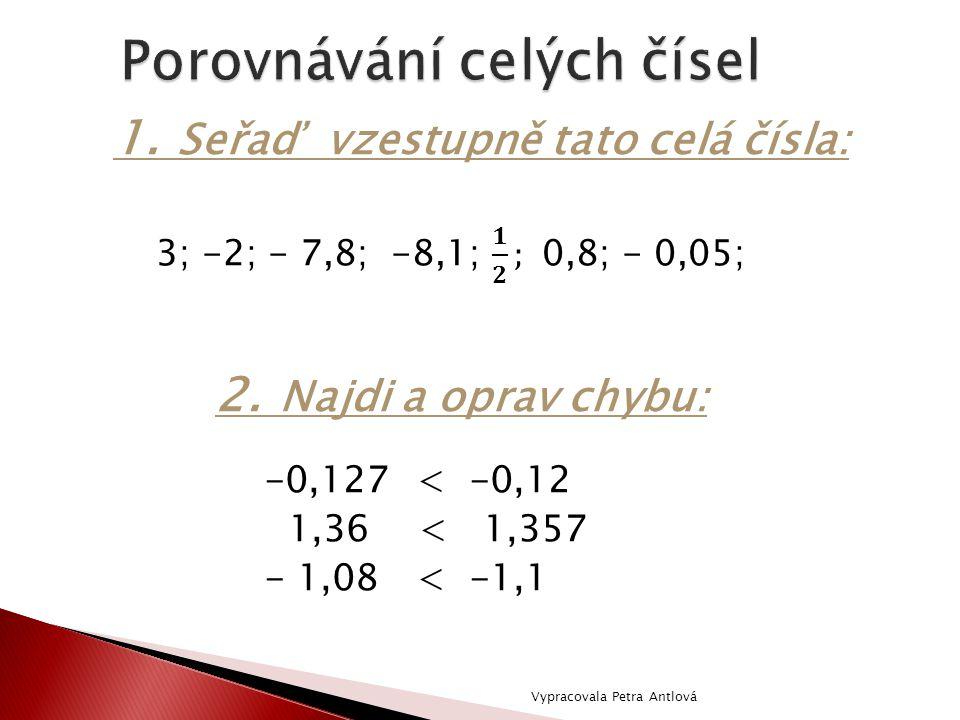1. Seřaď vzestupně tato celá čísla: 2. Najdi a oprav chybu: -0,127 < -0,12 1,36 < 1,357 - 1,08 < -1,1 Vypracovala Petra Antlová