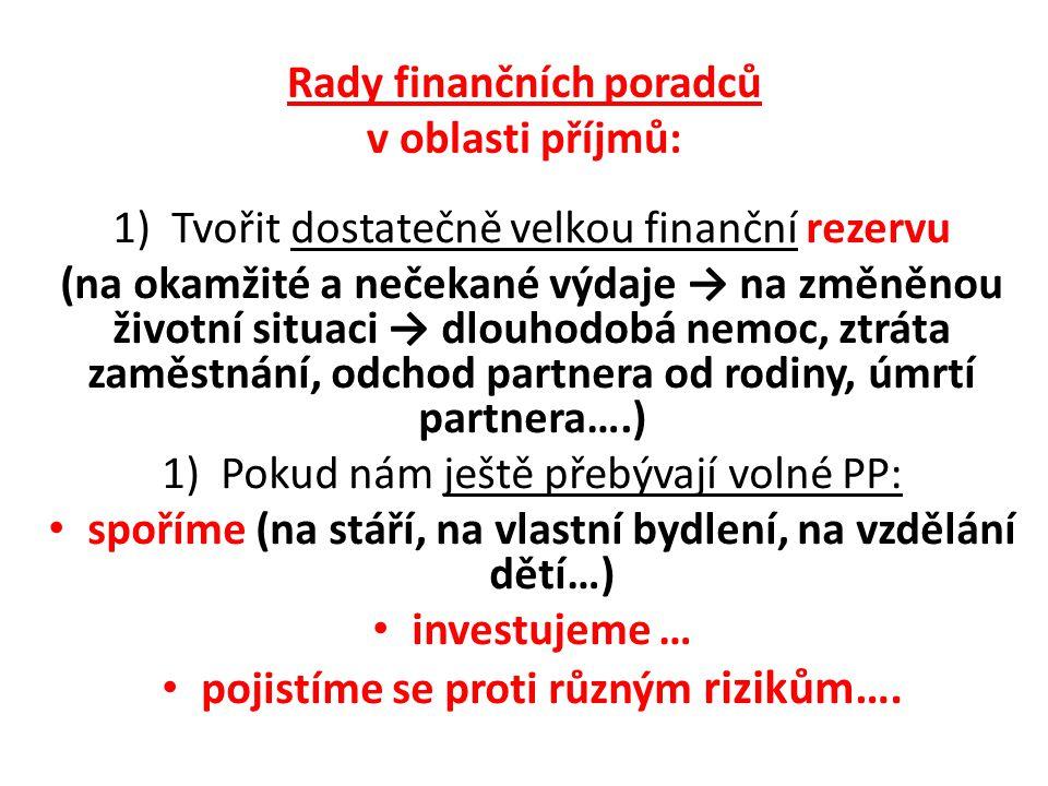Rady finančních poradců v oblasti příjmů: 1)Tvořit dostatečně velkou finanční rezervu (na okamžité a nečekané výdaje → na změněnou životní situaci → dlouhodobá nemoc, ztráta zaměstnání, odchod partnera od rodiny, úmrtí partnera….) 1)Pokud nám ještě přebývají volné PP: spoříme (na stáří, na vlastní bydlení, na vzdělání dětí…) investujeme … pojistíme se proti různým rizikům….