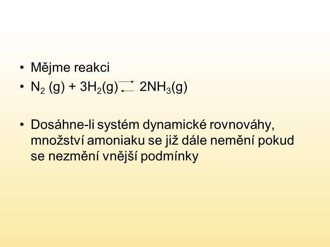 Mějme reakci N 2 (g) + 3H 2 (g) 2NH 3 (g) Dosáhne-li systém dynamické rovnováhy, množství amoniaku se již dále nemění pokud se nezmění vnější podmínky