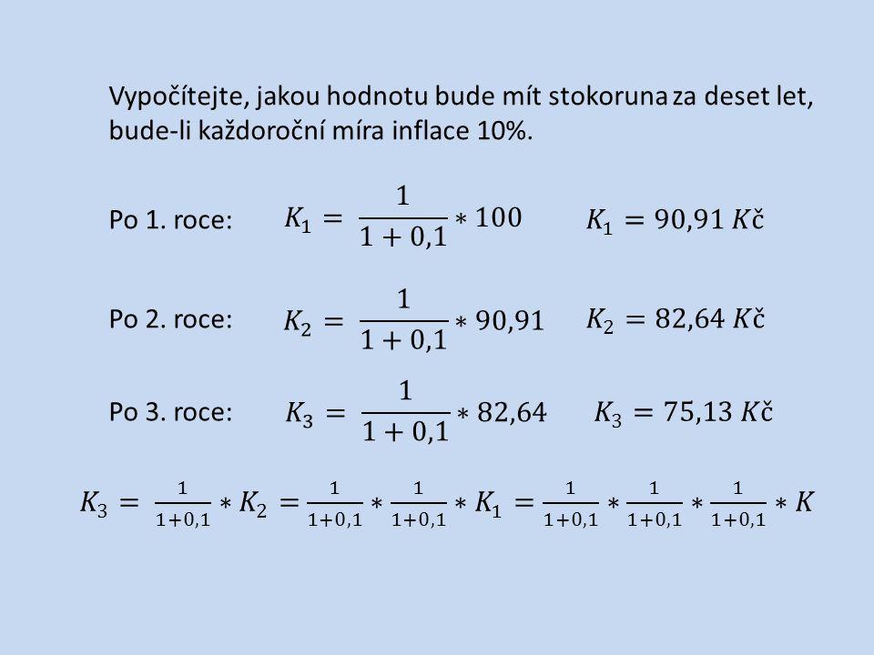 Vypočítejte, jakou hodnotu bude mít stokoruna za deset let, bude-li každoroční míra inflace 10%.