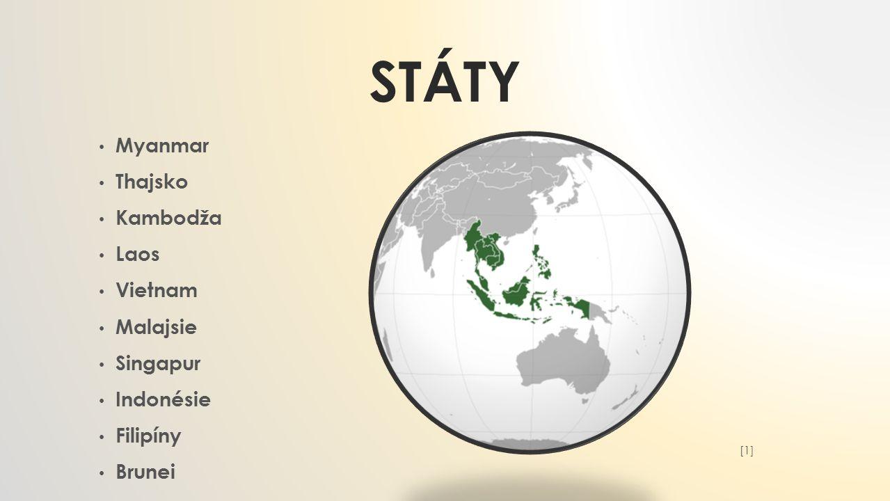STÁTY Myanmar Thajsko Kambodža Laos Vietnam Malajsie Singapur Indonésie Filipíny Brunei [1][1]
