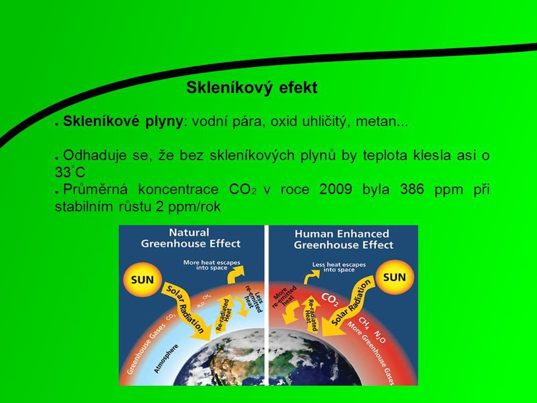 Skleníkový efekt ● Skleníkové plyny: vodní pára, oxid uhličitý, metan... ● Odhaduje se, že bez skleníkových plynů by teplota klesla asi o 33 ° C ● Prů