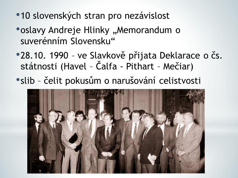 """10 slovenských stran pro nezávislost oslavy Andreje Hlinky """"Memorandum o suverénním Slovensku"""" 28.10. 1990 – ve Slavkově přijata Deklarace o čs. s tát"""