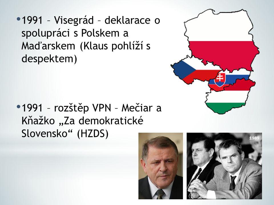 """1991 – Visegrád – deklarace o spolupráci s Polskem a Maďarskem (Klaus pohlíží s despektem) 1991 – rozštěp VPN – Mečiar a Kňažko """"Za demokratické Slove"""
