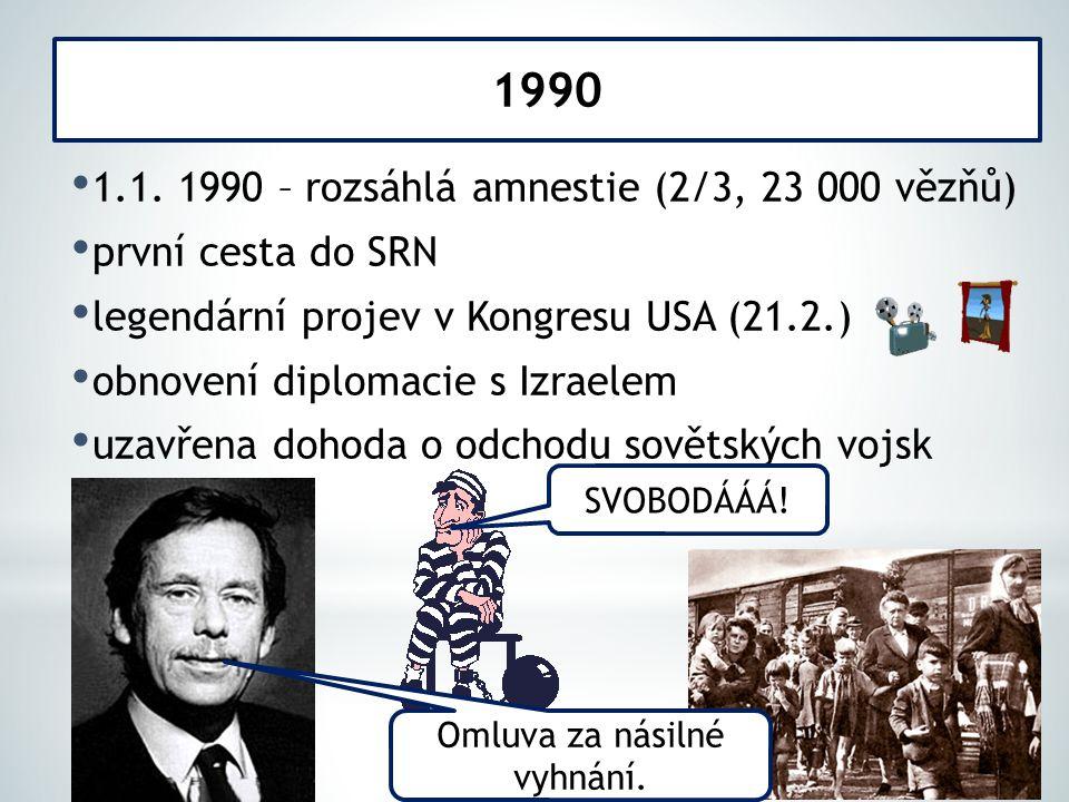 1.1. 1990 – rozsáhlá amnestie (2/3, 23 000 vězňů) první cesta do SRN legendární projev v Kongresu USA (21.2.) obnovení diplomacie s Izraelem uzavřena