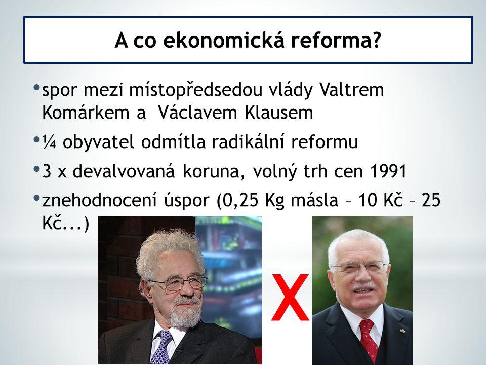 spor mezi místopředsedou vlády Valtrem Komárkem a Václavem Klausem ¼ obyvatel odmítla radikální reformu 3 x devalvovaná koruna, volný trh cen 1991 zne