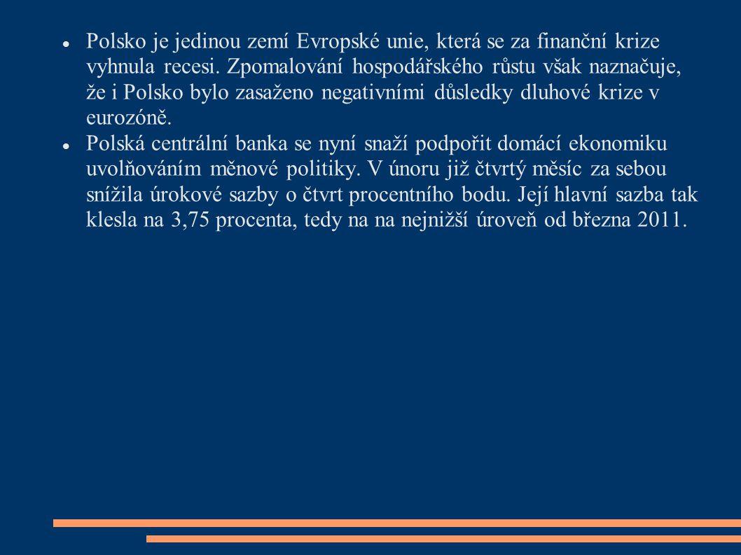 Polsko je jedinou zemí Evropské unie, která se za finanční krize vyhnula recesi. Zpomalování hospodářského růstu však naznačuje, že i Polsko bylo zasa