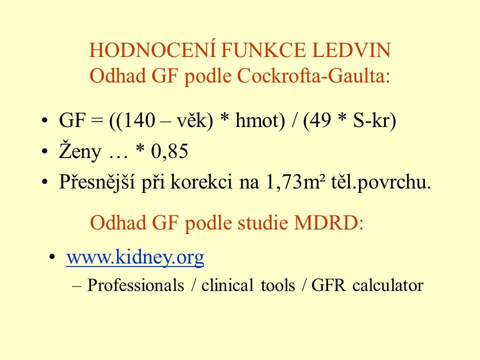 HODNOCENÍ FUNKCE LEDVIN Odhad GF podle Cockrofta-Gaulta: GF = ((140 – věk) * hmot) / (49 * S-kr) Ženy … * 0,85 Přesnější při korekci na 1,73m² těl.pov