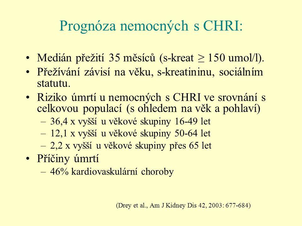 Prognóza nemocných s CHRI: Medián přežití 35 měsíců (s-kreat ≥ 150 umol/l). Přežívání závisí na věku, s-kreatininu, sociálním statutu. Riziko úmrtí u