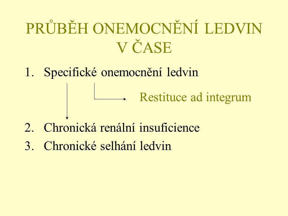PRŮBĚH ONEMOCNĚNÍ LEDVIN V ČASE 1.Specifické onemocnění ledvin 2.Chronická renální insuficience 3.Chronické selhání ledvin Restituce ad integrum