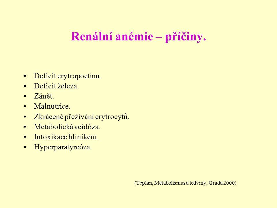 Renální anémie – příčiny. Deficit erytropoetinu. Deficit železa. Zánět. Malnutrice. Zkrácené přežívání erytrocytů. Metabolická acidóza. Intoxikace hli
