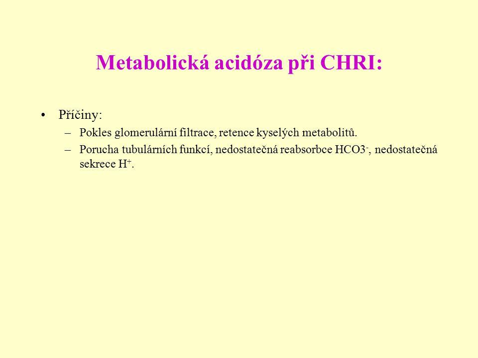 Metabolická acidóza při CHRI: Příčiny: –Pokles glomerulární filtrace, retence kyselých metabolitů. –Porucha tubulárních funkcí, nedostatečná reabsorbc