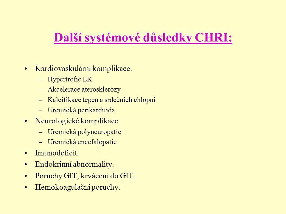 Další systémové důsledky CHRI: Kardiovaskulární komplikace. –Hypertrofie LK –Akcelerace aterosklerózy –Kalcifikace tepen a srdečních chlopní –Uremická
