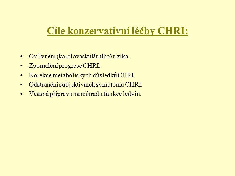 Cíle konzervativní léčby CHRI: Ovlivnění (kardiovaskulárního) rizika. Zpomalení progrese CHRI. Korekce metabolických důsledků CHRI. Odstranění subjekt