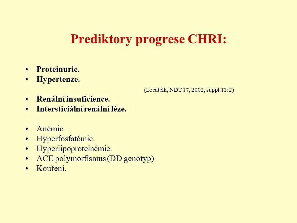 Prediktory progrese CHRI: Proteinurie. Hypertenze. (Locatelli, NDT 17, 2002, suppl.11: 2) Renální insuficience. Intersticiální renální léze. Anémie. H