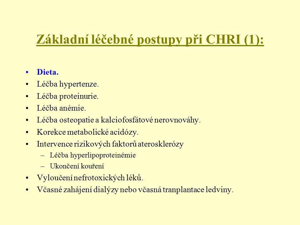 Základní léčebné postupy při CHRI (1): Dieta. Léčba hypertenze. Léčba proteinurie. Léčba anémie. Léčba osteopatie a kalciofosfátové nerovnováhy. Korek
