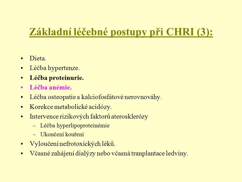 Základní léčebné postupy při CHRI (3): Dieta. Léčba hypertenze. Léčba proteinurie. Léčba anémie. Léčba osteopatie a kalciofosfátové nerovnováhy. Korek