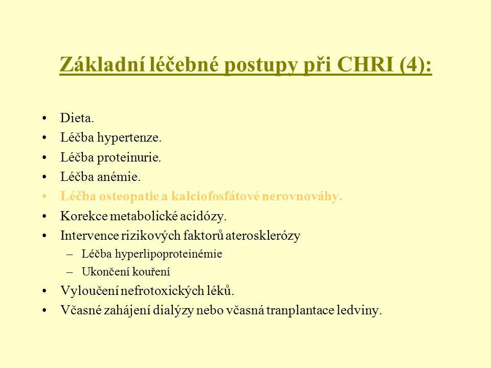 Základní léčebné postupy při CHRI (4): Dieta. Léčba hypertenze. Léčba proteinurie. Léčba anémie. Léčba osteopatie a kalciofosfátové nerovnováhy. Korek